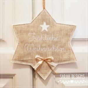 Weihnachtlicher Stern 20cm weiss/Leinen
