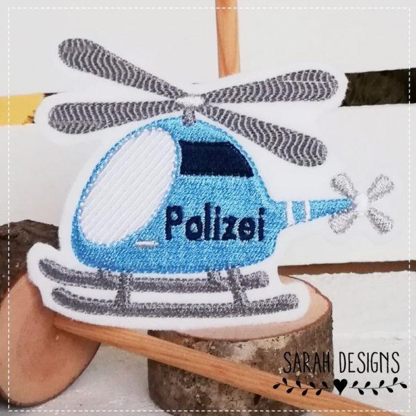 Bügelbild Patch Aufnäher Polizei Polizeihelicopter Polizeiheli 10,5cm x 8,5cm gestickt in hellblau mit grau und dinkelblau auf weissen Stickfilz