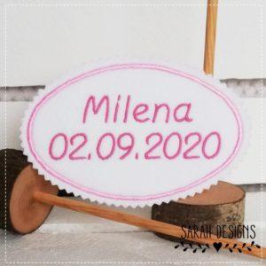 Bügelbild zur Einschulung 13cm oval – rosa