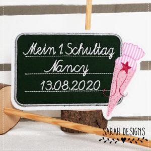 Bügelbild Tafel zur Einschulung 15cm – inkl. Wunschdaten