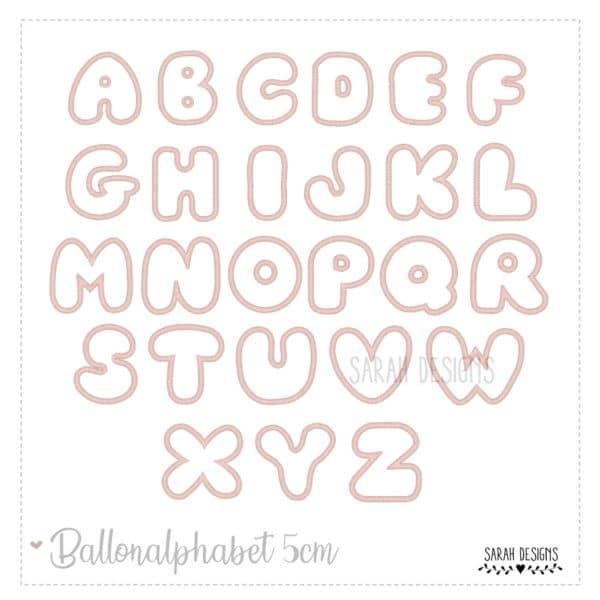 Stickdatei Alphabet Ballon ABC Buchstaben 5cm Embroidery Design Letters