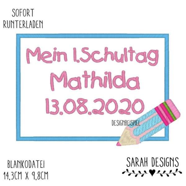 Stickdatei Eckig 14cm x 10cm zu erstellen eines Stickbilder zur Einschulung mit Stift in der unteren rechten Ecke Embroidery Design School Frame