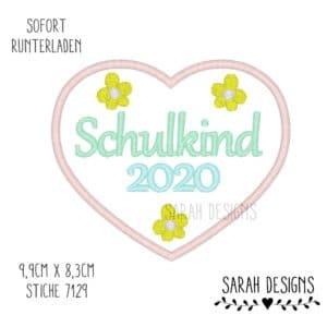Stickdatei 10×10 – Schulkind 2020 Blütenherz