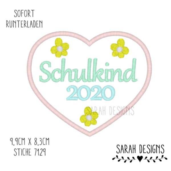 Stickdatei Schulkind 2020 im Herz Blütenherz mit 3 Blüten 9,9cmx8,3cm zum erstellen eines Stickbilder Embroidery Design Heart