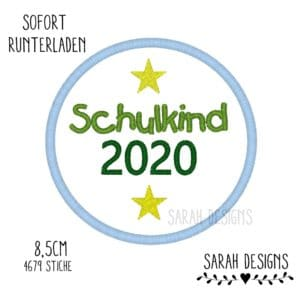 Stickdatei 10×10 – Schulkind 2020