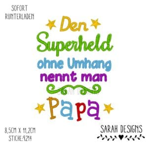 Stickdatei 18×13 – Superheld Papa