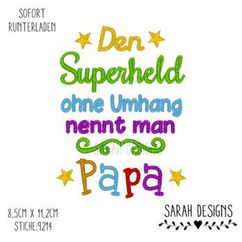 Stickdatei Superheld Papa 18×13