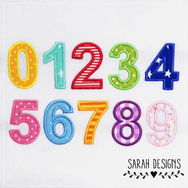 Zahlen zum aufbügeln von 0-9 in 3 verschiedenen Größen in deiner Wunschfarbe gestickt auf weußen waschbaren Textilfilz