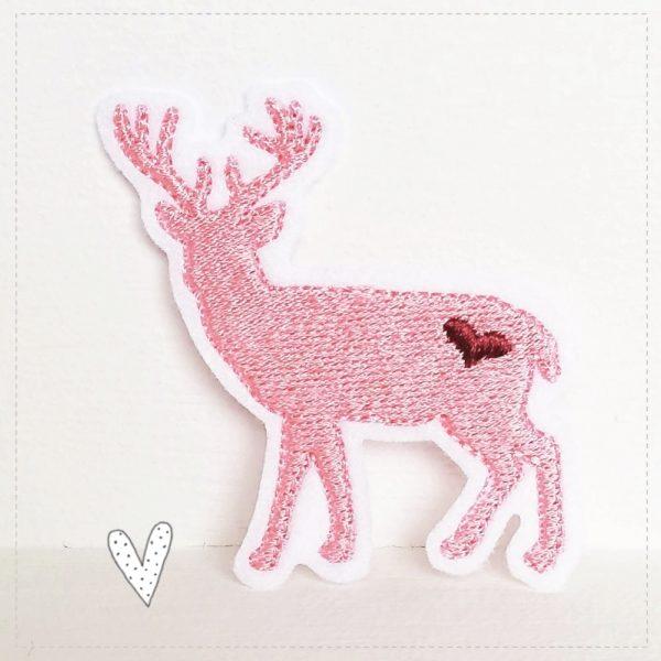 Hirsch zum aufbügeln gestickt auf weiß mit rosa und beere ca 7,5cm x 6cm groß Applikation Hirsch mit Geweih