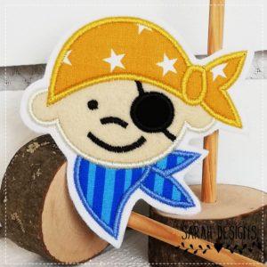 Bügelbild  Pirat – 10cm – senfgelb/azurblau