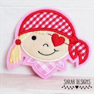 Bügelbild  Piratenmädchen – rosa/rot –