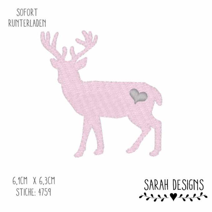 Stickdatei Hirsch für den 10x10 Rahmen in einem Füllstich zum erstellen eines Stickbilder Hirsch Reh Rehkitz Wildtier Embroidery Design