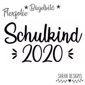 Bügelbild  – Flexfolie 16cm Schulkind 2020