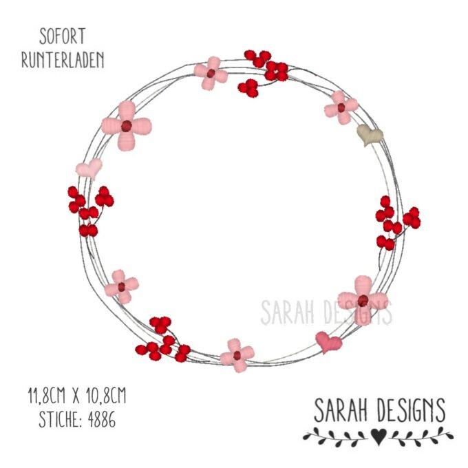 Rahmen Stickdatei Frühlingrahmen Frame Stickdatei Blumenrahmn Stickdatei 10,8x11,8cm zum erstellen eines Stickbilder