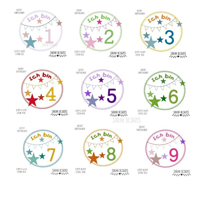 Sarah Designs Shop Set von 1-9 Stickdatein zum erstellen einer Applikation für das Geburtstagskind 8,9x8,4cm groß mit Sternchen und Wimpelkette im Doodle Stil