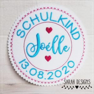 Bügelbild Schulkind – pink/türkis – 13,5cm