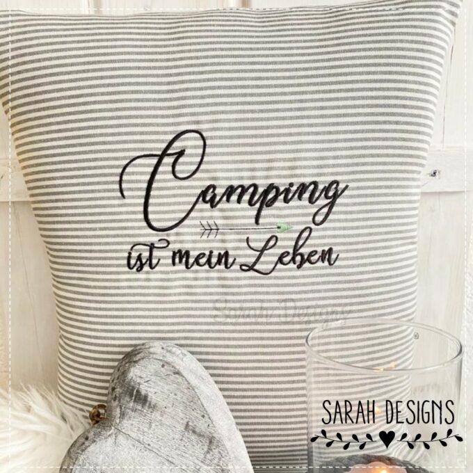 Stickdatei Camping ist mein Leben Zelten Campingwagen Natur 18x13