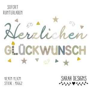 Stickdatei  – Herzlichen Glückwunsch – 20×20 / 30×20