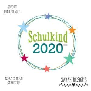 Stickdatei Schulkind 2020 für den 18x13 Rahmen zum erstellen eines Stickbildes in den gängisten Formaten kommerziell zu erwerben.