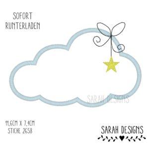Stickdatei Wolke mit Schleife und kleinem Stern zum erstellen einer Applikation 11,3cm x 7,4cm in sämtlichen Formaten