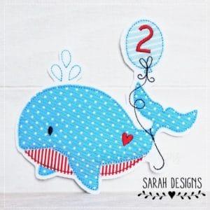 Bügelbild Wal mit einer 2 hellblau/rot
