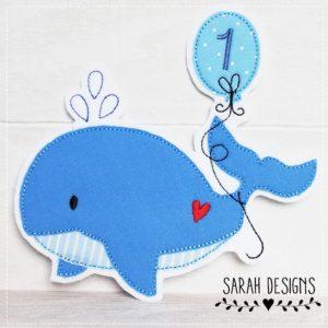 Bügelbild Wal mit Wunschballon