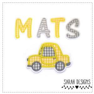 Bügelbild Auto inkl. 3 Stoffbuchstaben – gelb grau