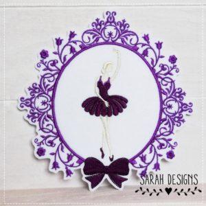 Sofortkauf – Bügelbild Ballerina im Barockstil – lila/aubergine