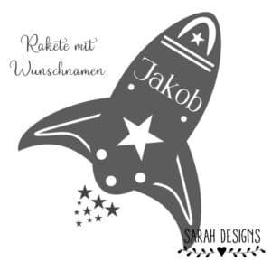 Bügelbild Flexfolie Rakete mit Wunschnamen