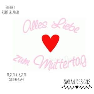 Stickdatei – Alles Liebe zum Muttertag – 18×13