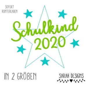 Stickdatei – Schulkind 2020 – 2 Größen