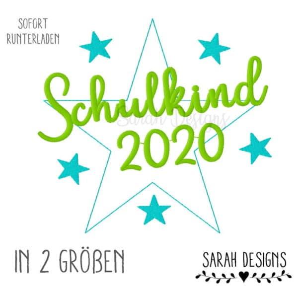 A Sarah Designs Stickdatei Schulkind 2020 in zwei größen als Datei für deine Stickmaschine
