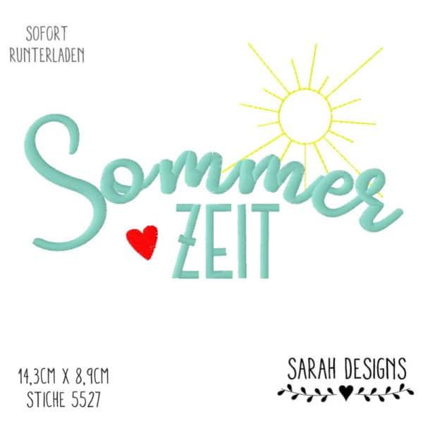 A Sarah Designs Stickdatei Sommerzeit Summertime 14,3cm x 8,9cm in sämtlichen Formaten gespeichert 18x13 Stickrahmen