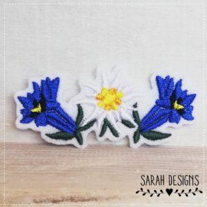 Bügelbild Edelweiss mit blauem Enzian