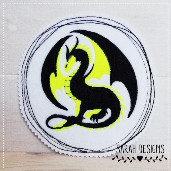 Bügelbild Drache neon mit schwarz gestickt auf weissen Textilfilz - waschbar bis zu 40 grad 15cm in Durchmesser zum aufbügeln oder annähen