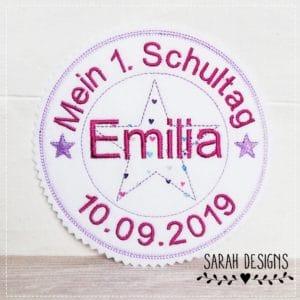 Bügelbild – 2020 Schulkind – Mein 1.Schultag flieder – pink 13cm