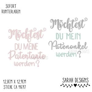 Stickdatei – Patenonkel & Patentante – 18×13
