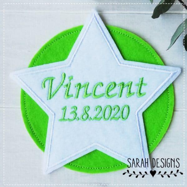 Stern mit Wunschnamen zum aufbügeln optimal für die Schultüte in weiss mit apfelgrün 13,5cm Durchmesser