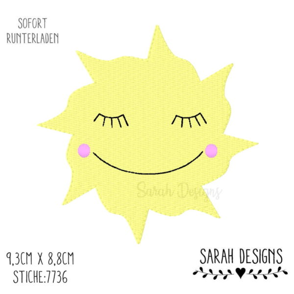 Stickdatei Sonne 9,3cm x 8,8cm für den 10x10 Stickrahmen zum erstellen eines Stickbildes, du brauchst dafür eine Stickmaschine in sämtlichen Formaten angespeichert