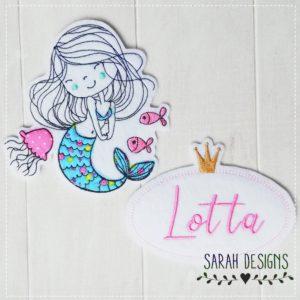 Bügelbild  Meerjungfrau + Namensschild gratis – in deiner Wunschfarbe
