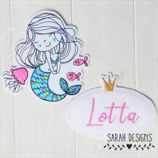 Meerjungfrau und Wunschname in deiner Wunschfarbe
