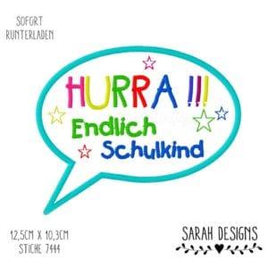 Stickdatei – HURRA – Endlich Schulkind 18×13