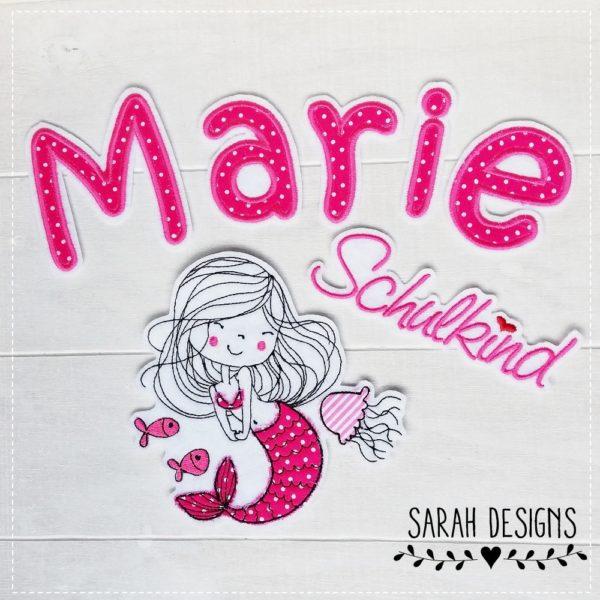 Aufnäher Meerjungfrau mit Buchstaben in Pink zum aufbügeln