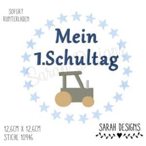 Stickdatei – Erster Schultag Traktor 20×20