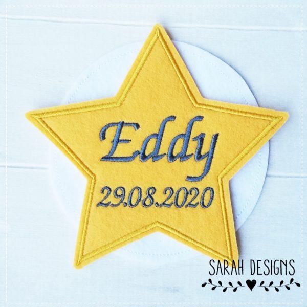 EDDY Aufnäher Stern mit Wunschnamen und Einschuldatum