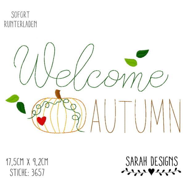Stickdatei Hallo Herbst Hello Autumn Kürbis Welcome Willkommen Herbst 18x13