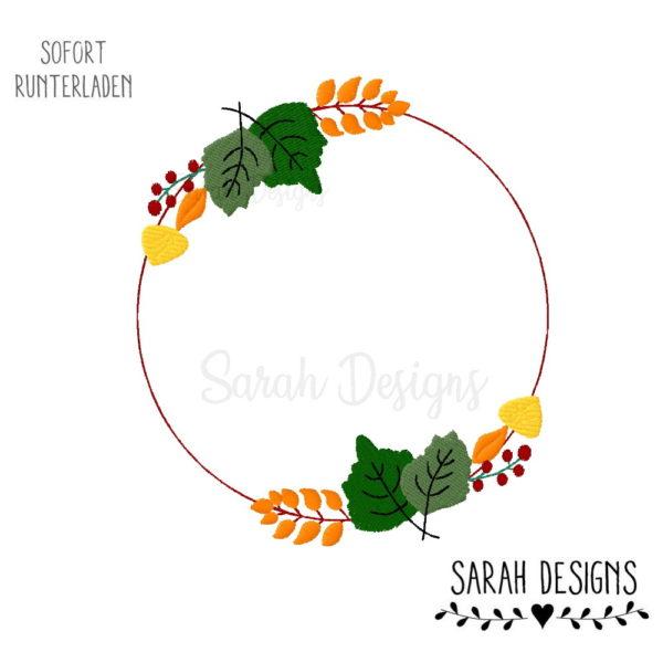 Stickdatei Herbstlicher Kranz Embroidery Designs Autumn 10x10cm - 20x30cm