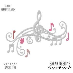 Stickdatei – Musikalischer Notenschlüssel 18×13