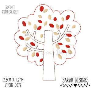 Stickdatei – Herbstlicher Doodle Baum  18×13