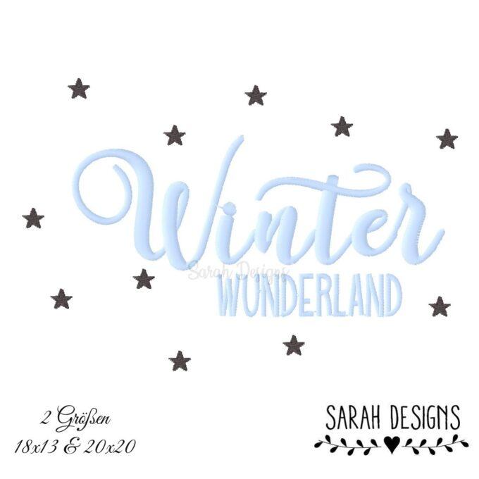 Stickdatei Winter Wunderland mit Sternen in 2 größen zum erstellen einer Stickerei mittels deiner Stickmaschine